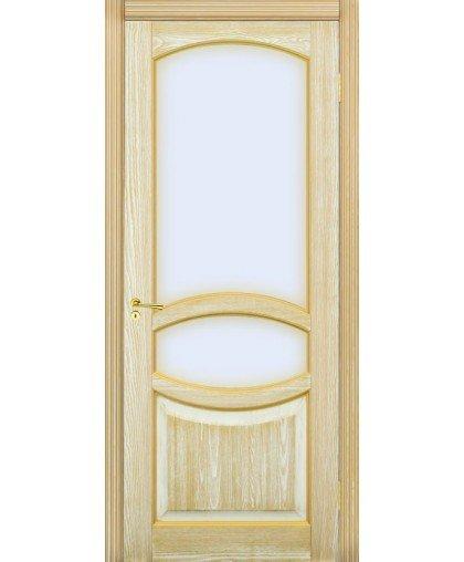 Грация со стеклом белая эмаль + патина золото